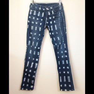 True Religion World Tour Bleach Dye Skinny Jeans